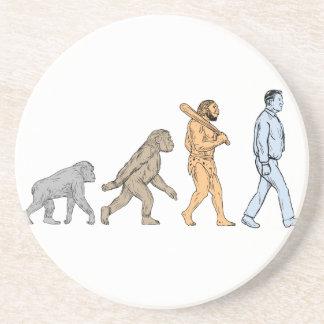Dibujo que camina de la evolución humana posavasos de arenisca
