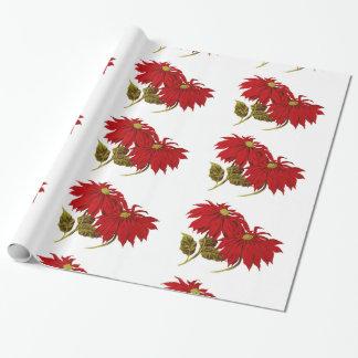 Dibujo rojo hermoso del Poinsettia Papel De Regalo