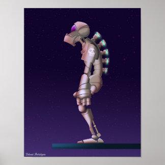 Dibujo solo del robot póster