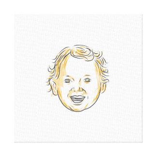 Dibujo sonriente del niño caucásico impresión en lienzo