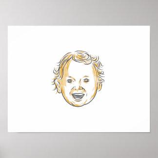 Dibujo sonriente del niño caucásico póster