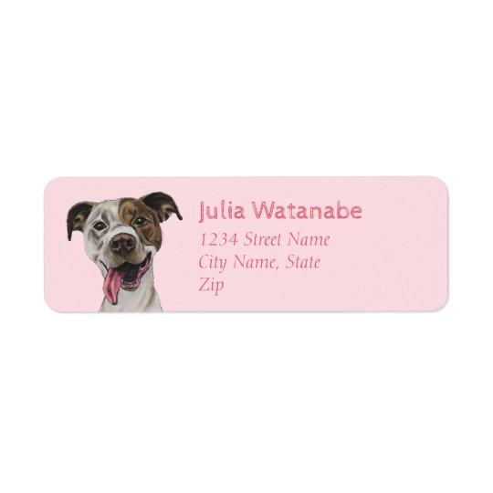 Dibujo sonriente del perro del pitbull etiqueta de remitente