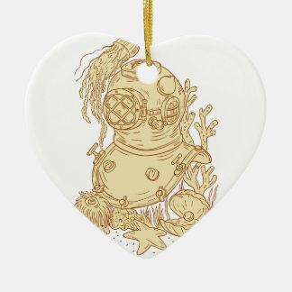 Dibujo subacuático del casco del salto de la adorno navideño de cerámica en forma de corazón