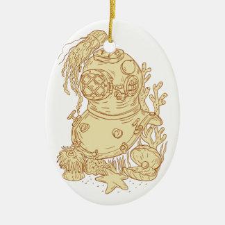 Dibujo subacuático del casco del salto de la adorno navideño ovalado de cerámica