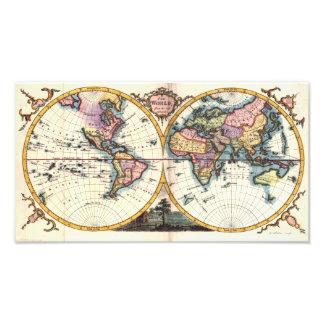 Dibujo viejo del ejemplo del mapa del mundo de la foto