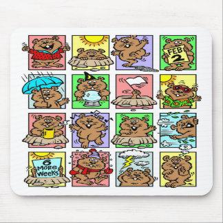 Dibujos animados divertidos del día de la marmota alfombrillas de ratones