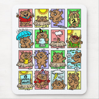 Dibujos animados divertidos del día de la marmota alfombrilla de ratón
