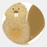 Dibujos animales adorables: Castor Etiquetas Redondas