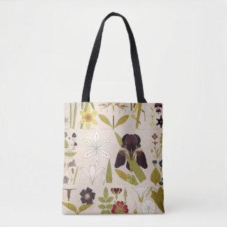 Dibujos del vintage de flores bolso de tela