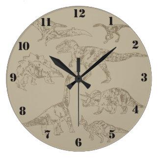 Dibujos realistas del vintage de los dinosaurios reloj redondo grande