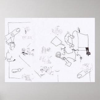 Dibujos surrealistas de la composición que póster