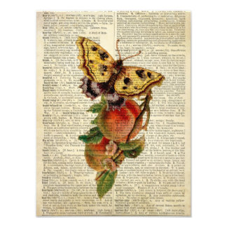diccionario floral del vintage de la mariposa impresión fotográfica