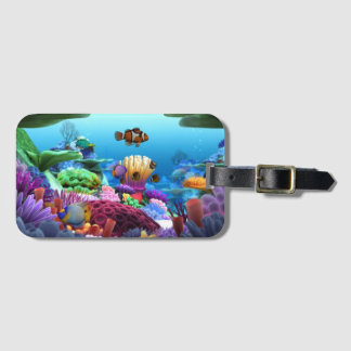 Dicha coralina hermosa etiqueta para maletas