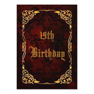 Diecinueveavo cumpleaños enmarcado oro gótico invitación 12,7 x 17,8 cm