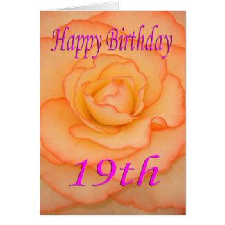 Diecinueveavo flor feliz del cumpleaños tarjeta de felicitación