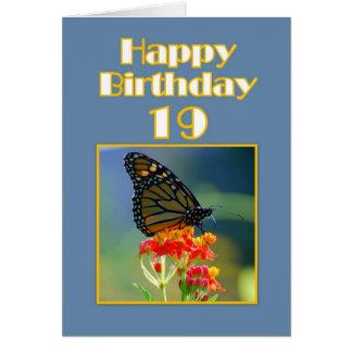 Diecinueveavo mariposa de monarca feliz del cumple tarjeta