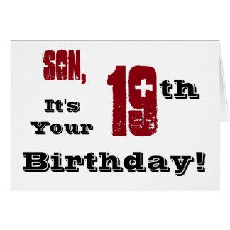 Diecinueveavo saludo del cumpleaños del hijo en felicitaciones