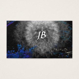 Diente de león deformado en negro con el azul tarjeta de negocios