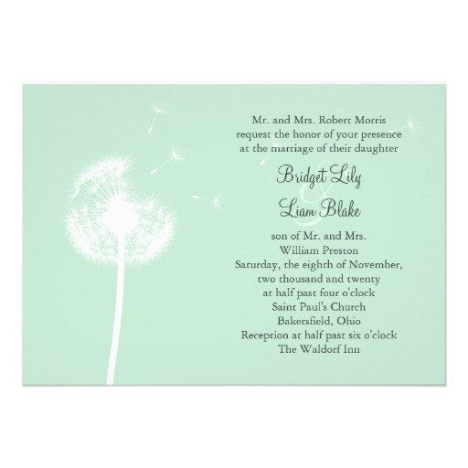 Diente de león en la invitación del boda de la men