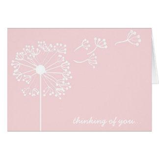 Diente de león rosado inmóvil tarjeta pequeña