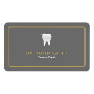 Diente gris redondeado de oro del marco dental tarjetas de visita