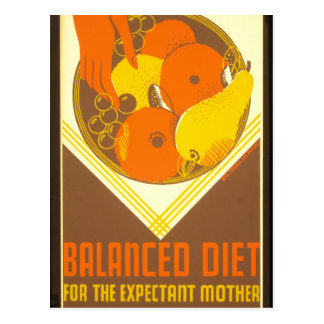 Dieta equilibrada Nueva York 1936 - 39 del poster Postal