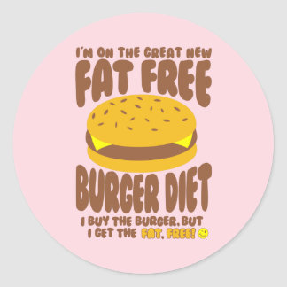 Dieta sin grasa de la hamburguesa pegatina redonda