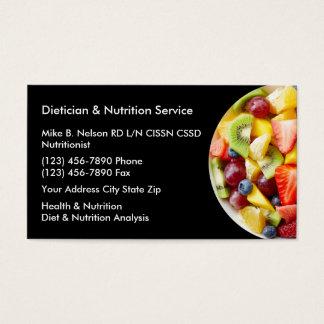 Dietético y servicios de la nutrición tarjeta de negocios