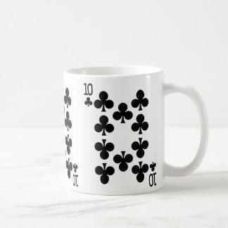 Diez del naipe de los clubs taza de café
