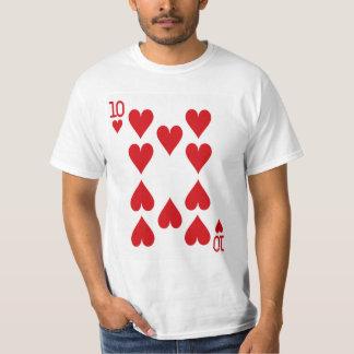 Diez del naipe de los corazones camiseta