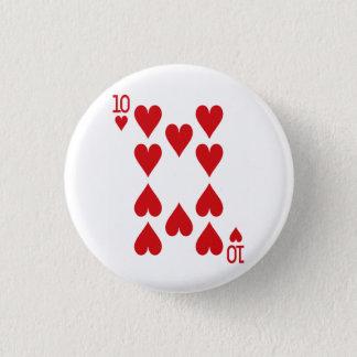 Diez del naipe de los corazones chapa redonda de 2,5 cm