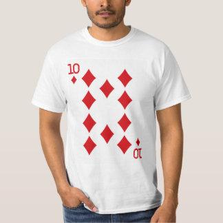 Diez del naipe de los diamantes camiseta