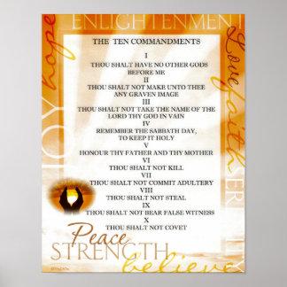 Diez mandamientos con puesta del sol en manos de póster