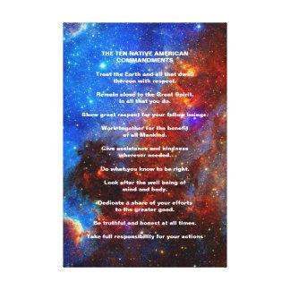 Diez mandamientos del indio del nativo americano impresión en lona estirada