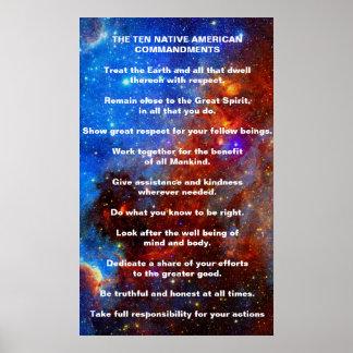 Diez mandamientos del indio del nativo americano póster