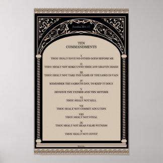 Diez mandamientos en voluta del arco del art déco póster