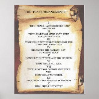 Diez mandamientos en voluta del pergamino póster