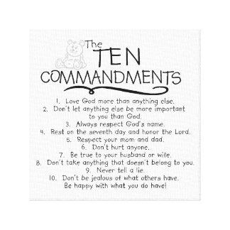Diez mandamientos para la iglesia de los niños de impresión en lienzo