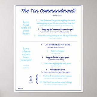 Diez mandamientos para los niños--Navy/Lt. Azul Póster