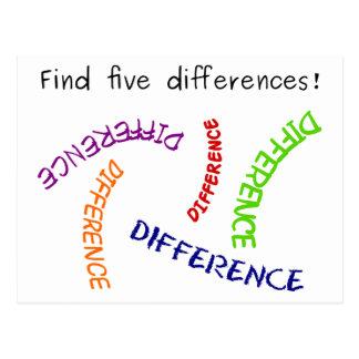 Diferencias del hallazgo cinco postal