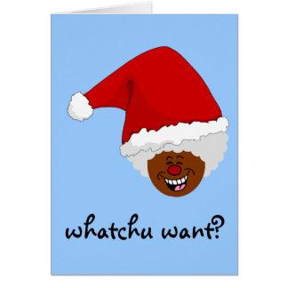 Diga a Santa negro lo que usted quiere para el nav Tarjeta De Felicitación