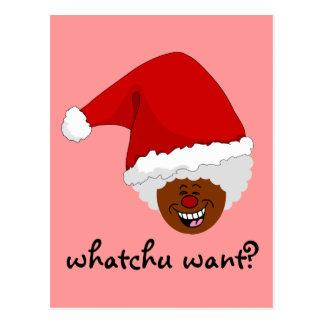 Diga a Santa negro lo que usted quiere para el nav Tarjetas Postales