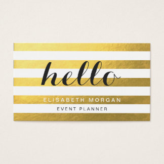 Diga hola a sus clientes - rayas elegantes del oro tarjeta de negocios