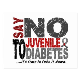 Diga NO a la diabetes juvenil 1 Tarjetas Postales