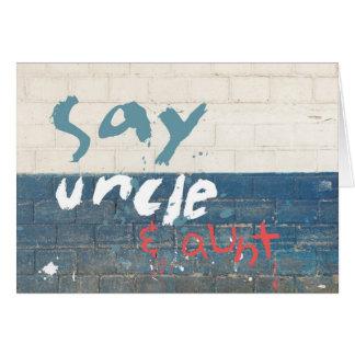 Diga tío y a tía Customizable Graffiti Tarjeta