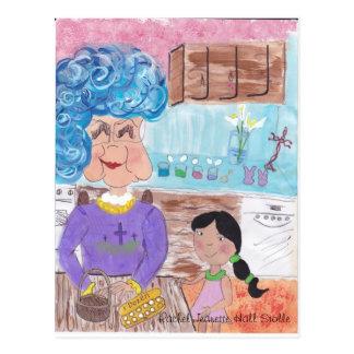 dígame sobre tía lou de pascua tarjeta postal