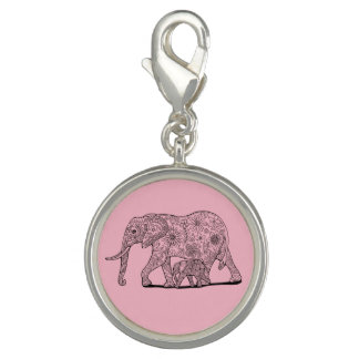 Dije Con Foto Diseño floral de Lineart de los elefantes