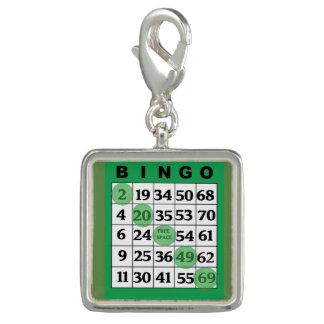 Dije Con Foto Encanto afortunado de la tarjeta verde del BINGO