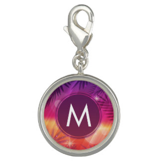 Dije Con Foto Naranja de la púrpura del monograma de las