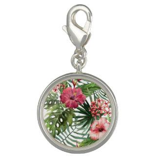 Dije El hibisco tropical florece el modelo del follaje